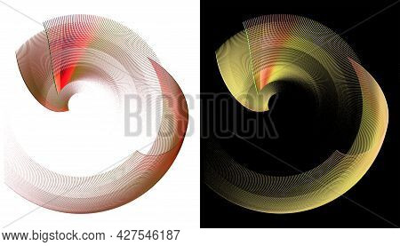 Vibrant Red And Yellow Layered Elements Form Frames And Rotate On Black And White Backgrounds. Graph