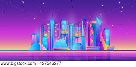 Futuristic Night City Skyline, Purple Future Modern Cityscape With Building Skyscrapers
