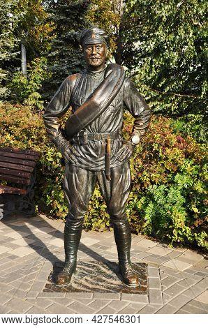 Urban Sculpture. Sculpture To The Hero Of The Film, Comrade Sukhov. Samara, Russia September 17, 202