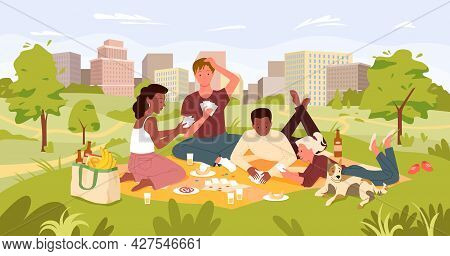 Friends People On Picnic Party In Summer City Park Landscape, Playing Card Game, Drinking