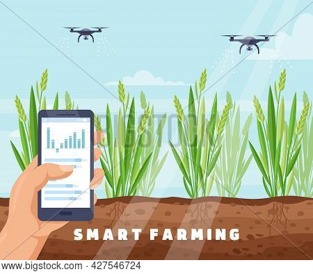 Drone Smart Farm Irrigation System With Drone Watering Plants, Agriculture Technology
