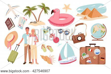 People And Travel Summer Vacation Set, Holiday Journey With Travel Objects, Luggage