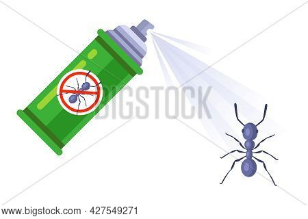 Insect Repellent In The Form Of A Spray. Destroy The Home Of Ants Pests. Flat Vector Illustration.