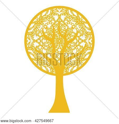 Abstract Decorative Tree With Lace Pattern. Ornament Instead Of Leaves, Trunk And Branches Are Isola