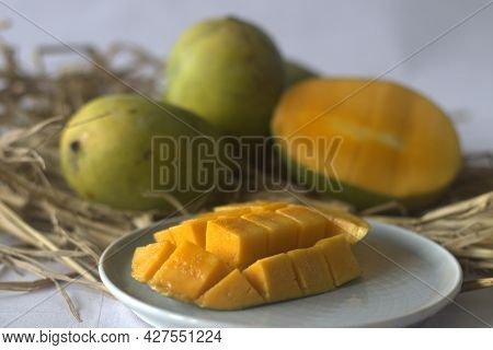 Moovandan Mango, A Common Mango Of Kerala. A Tropical Fruit Cultivated In Many Regions Of India.
