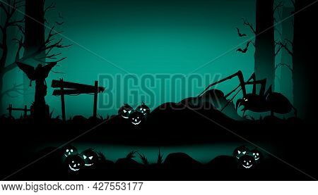 Halloween 2021. Scary Halloween Isolated Background. Panorama Of A Scary Forest In Halloween Style.