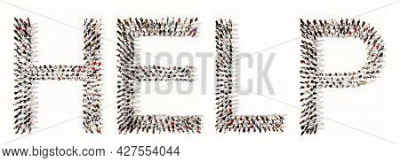 Concept  conceptual large community of people forming HELP slogan. 3d illustration metaphor for assistance, compassion, kindness and generosity, charity, volunteering and donation
