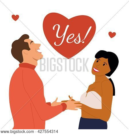 The Man Made A Marriage Proposal To His Beloved And She Said Yes! Vector Illustration Of Two Newlywe