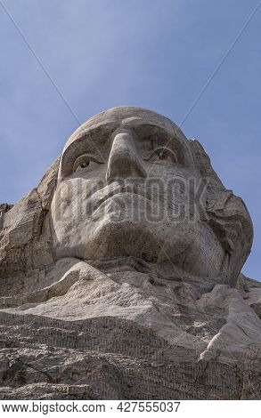 Black Hills, Keystone, Sd, Usa - May 31, 2008: Mount Rushmore. Closeup Of President Washington Face