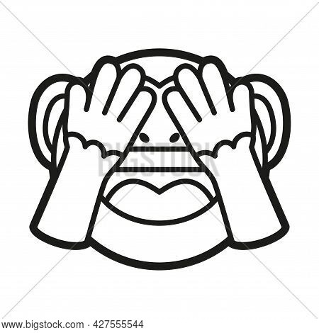 Emoji Of A Little Monkey Covered Eyes Vector Illustration