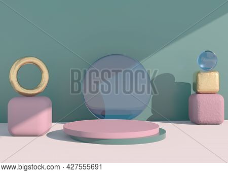 Abstract Empty Podium With Shadow. Mock Up Stand For Product Presentation. 3d. Minimal Concept. Disp