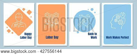 Honouring Workers Achievement Postcards With Linear Glyph Icon Set. Greeting Card With Decorative Ve