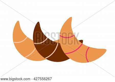 Various Dough Bagels With Different Fillings On An Isolated Background. Tea Time. Dessert. Design El
