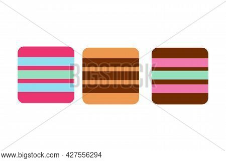 Striped Multi-colored Marmalade On An Isolated Background. Tea Time. Dessert. Design Elements. Pleas