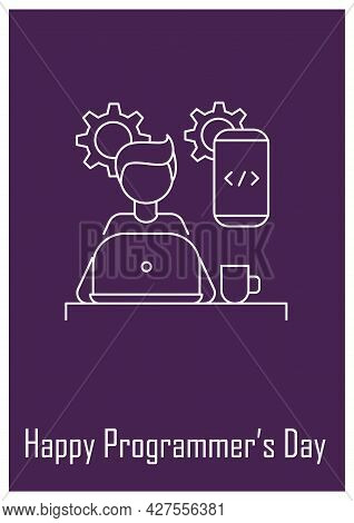 Programmer Profession Postcard With Linear Glyph Icon. Software Developer. Greeting Card With Decora