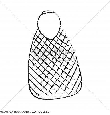 Ink Drawing Eco-friendly Bag String Bag. Vintage Graphics And Handwork. Black Sketch Outline Stock V
