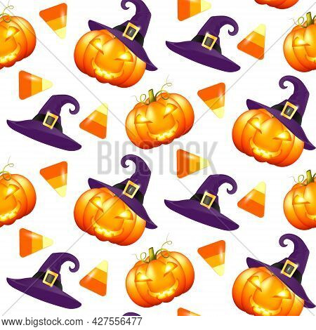 Pattern With Bright Halloween Pumpkins And Sweets On A White Background. Seamless Pattern Halloween