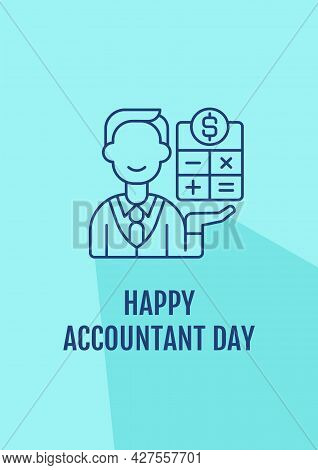 Congratulations To Accountants Postcard With Linear Glyph Icon. Greeting Card With Decorative Vector