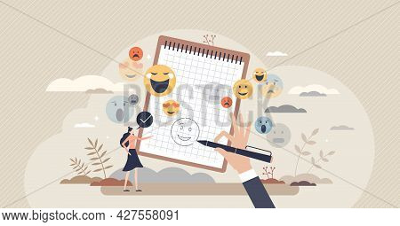 Tones In Writing As Attitude Expression In Sign Or Symbols Tiny Person Concept. Emotions And Feeling