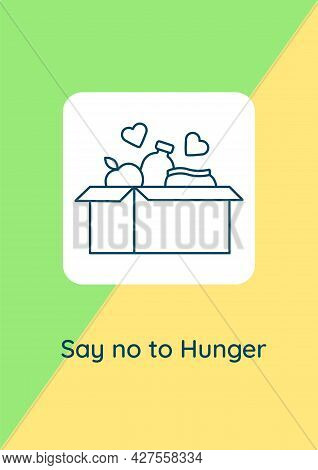 Hunger-relief Charity Postcard With Linear Glyph Icon. Sharing Meal. Greeting Card With Decorative V