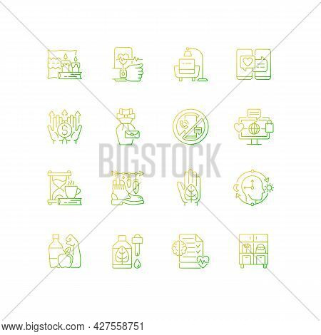 Lifestyle Trends Gradient Linear Vector Icons Set. Hygge Atmosphere. Health Tracking. Digital Detox.