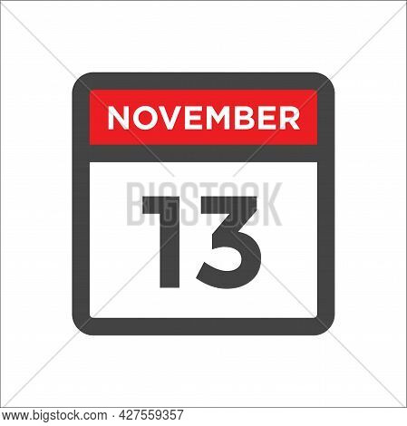 November 13 Calendar Icon W Day Of Month