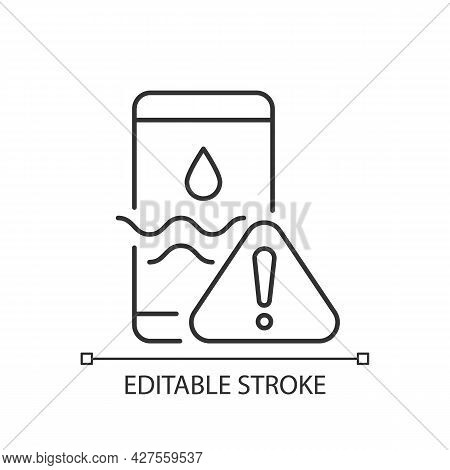 Water Damage Linear Icon. Fix Liquid Damaged Mobile Phone. Drop Smartphone Into Water. Thin Line Cus