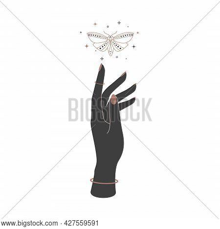 Mystical Celestial Night Butterfly Over Woman Hand. Spiritual Elegant Moth For Branding Name Logo. E