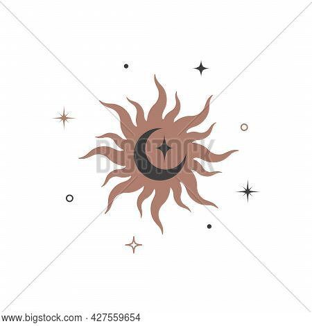 Mystical Shining Silhouette Sun And Crescent In Retro Vintage Style. Spiritual Elegant Symbol For Br