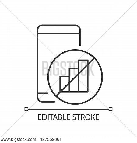 No Signal Linear Icon. Smartphone And Signal Bars Indicator. Network Disconnection. Dial Problem. Th