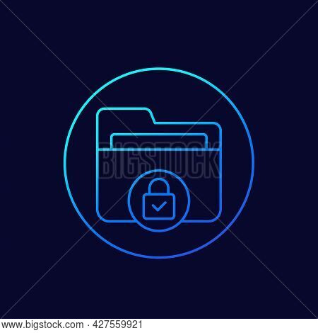 Confidential Folder Or Protected Data Line Icon