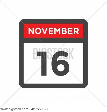 November 16 Calendar Icon W Day Of Month
