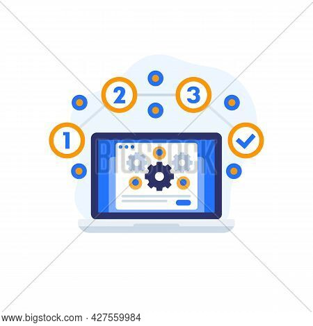 Project Execution Vector Icon With A Laptop
