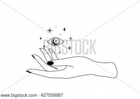 Mystic Celestial Eye With Constellation Stars Over Woman Hand Outline Silhouette. Vector Illustratio