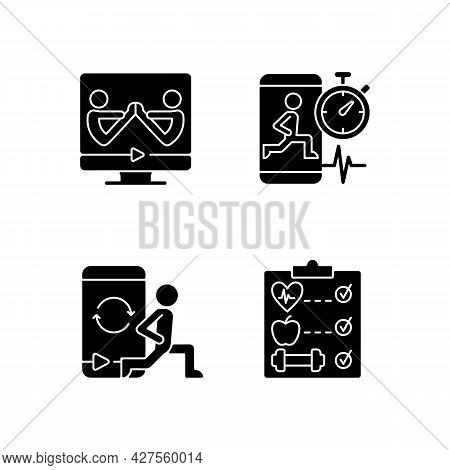 Online Fitness Wellness Programs Black Glyph Icons Set On White Space. High Intensity And Intervals