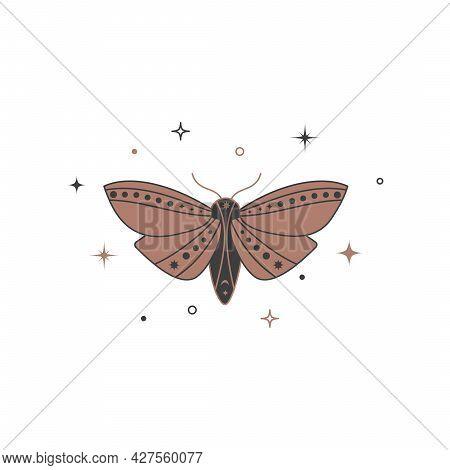 Mystical Celestial Night Butterfly. Spiritual Elegant Moth For Branding Name Logo. Esoteric Magic Wi