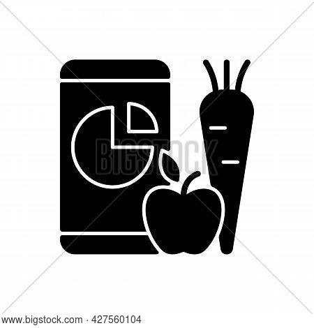 Online Nutrition Tracker Black Glyph Icon. Foods Eaten Per Day Accounting. Body Weight Control App.