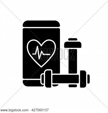 Online Fitness Application Black Glyph Icon. Mobile Device Option For Health Behaviour Change. Self-
