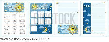 Cartoon Sun, Month. Calendar Planning 2022. Vector Cartoon Character For Childrens Planning.