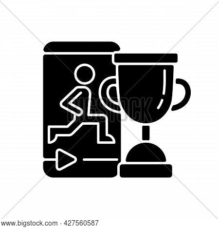 Fitness Online Challenge Black Glyph Icon. Virtual Corporate And Private Wellness Initiatives. Team