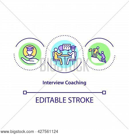 Interview Coaching Concept Icon. Professional Trainer Abstract Idea Thin Line Illustration. Practici