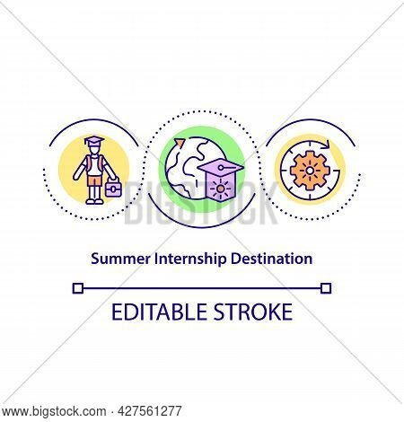 Summer Internship Destination Concept Icon. Immersion In New Culture, Country Abstract Idea Thin Lin