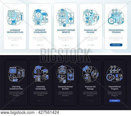 Internship Financing Onboarding Mobile App Page Screen. Installment Pay Walkthrough 5 Steps Graphic
