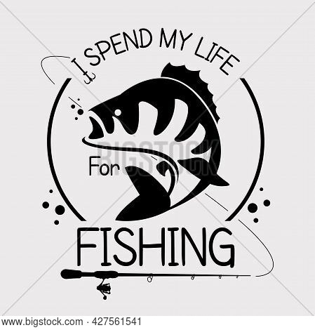 Yellow Perch Fishing Club Emblem. Bass Fishing Logo Isolated On White Background. River Perch Fish V