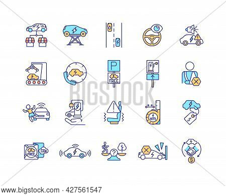 Ev Features Rgb Color Icons Set. Isolated Vector Illustrations. Eco Car Technologies. Electric Vechi