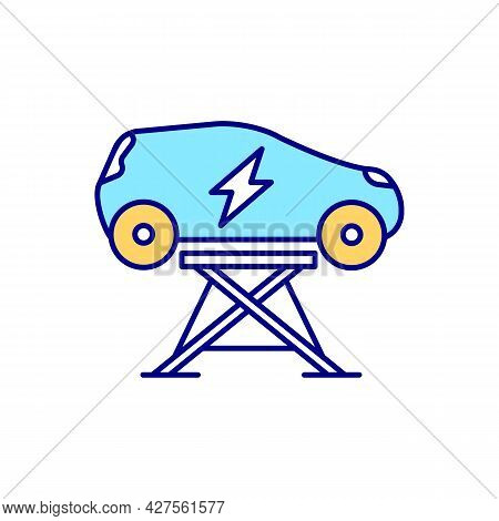 Ev Keeping Blue Rgb Color Icon. Electric Vehicle Maintenence. Repair Equipment. Roadside Assistance.