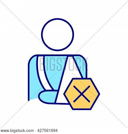 Person With Injury Rgb Color Icon. Car Crashes Prevention. Man With Broken Hand. Autonomous And Elec