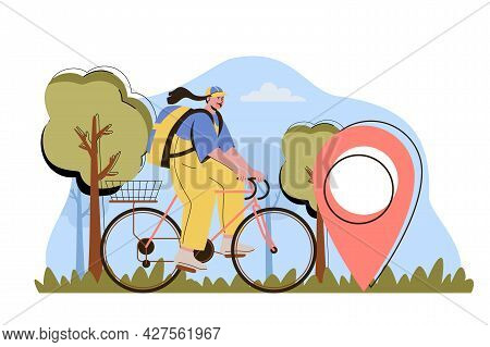 Delivery On Time Concept. Woman Courier Carries Parcel On Bicycle To A Client Home Situation. Expres