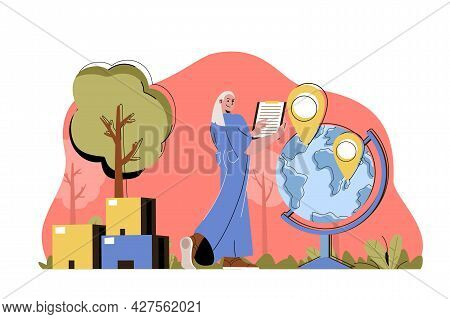 Delivery Service Concept. Woman Operator Sends Parcels By World Situation. Global Logistics, Express