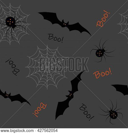 Halloween Seamless Pattern Concept With Spider, Cobwebs And Bats On Dark Gray Background. Vector Ill
